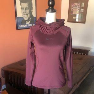 NIKE PRO HYPERWARM burgundy pull over hoodie